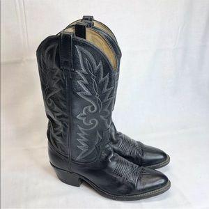 DAN POST BLACK LEATHER CLASSIC COWBOY BOOTS Size 9